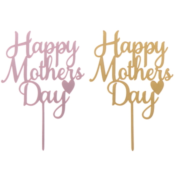Happy Mother's Day Mommy Acrylic Cake Topper Gold Mirror Cake Topper For Mother Birthday Party Cake Decor image