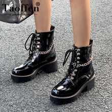 Taoffen Women Ankle Boots Fashion Platform Fur Warm Winter Shoes Women Lace Up Plush Chain New Style Motorcycle Boot Size 34-43