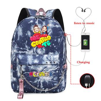 Me contro Te Backpack Women Men USB Charge Laptop rucksack School Bags Teens boys girls Travel Shoulder Bags tanie i dobre opinie PUOU Płótno Tłoczenie Unisex Miękka 20-35 litr Wnętrze slot kieszeń Wnętrza przedziału Miękki uchwyt zipper NONE