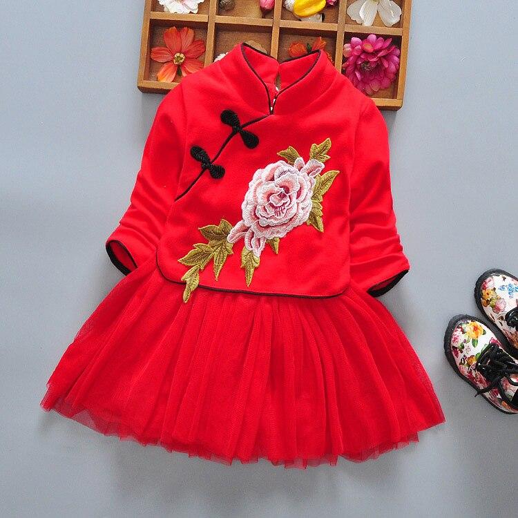 2019 Spring Children Chinese Costume Cheongsam Baby Retro Childrenswear Medium-small Girls Long Sleeve Frog Joint Mesh Dress