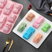 Car Shape Silicone Soap Mold 6-Cavity Chocolate Candy Mould Cake Decorating Tools DIY Jelly Pudding 15 cavity silicone drink ice cube pudding jelly cake chocolate mold mould tray set of 2 460001