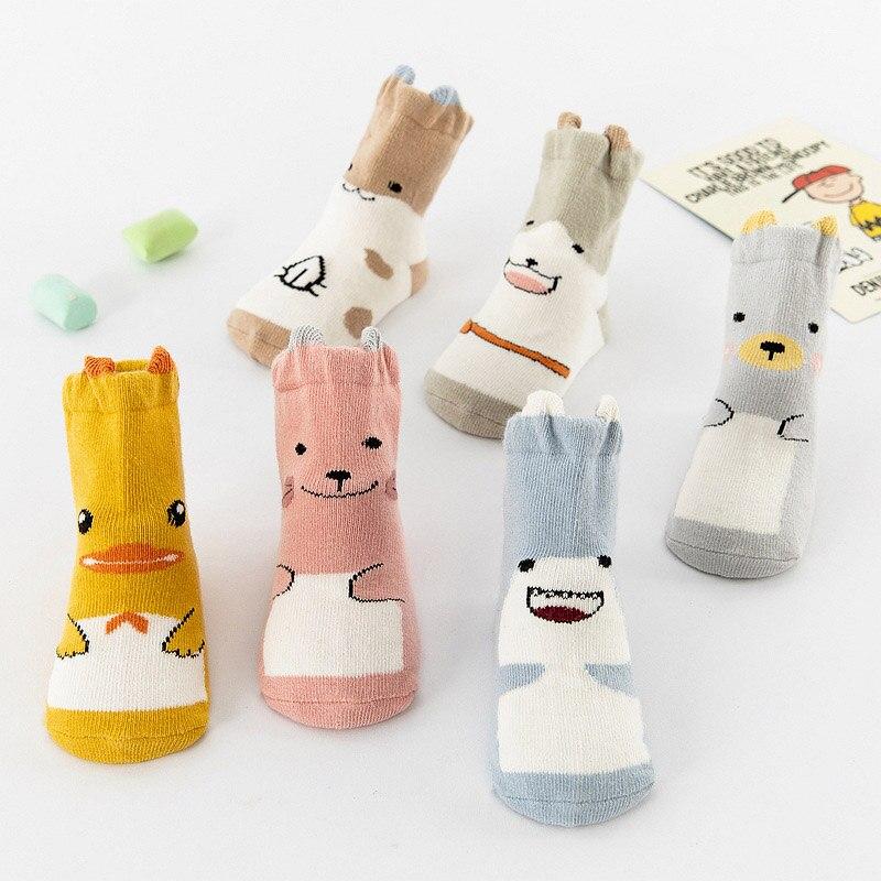 New Baby Socks Baby Girls Boys Cute Cartoon Duck Animal Thick Warm Socks Kids Anti-Slip Socks 0-3Y