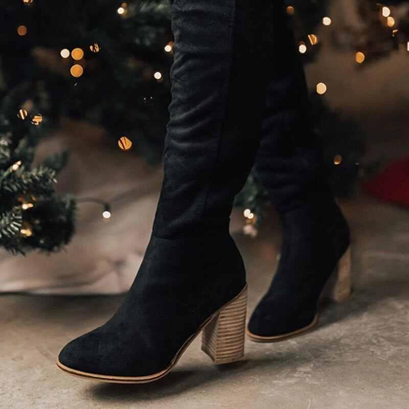 Adisputent yeni kadın diz yüksek çizmeler dantel kadar seksi yüksek topuklu kadın ayakkabı dantel Up kış çizmeler sıcak boyutu 35-43 2019 moda çizmeler