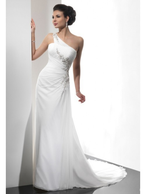 2015 NEW Sexy One-shoulder Chiffon Wedding Dresses Bridal Gowns Vestidos De Noiva Backelss