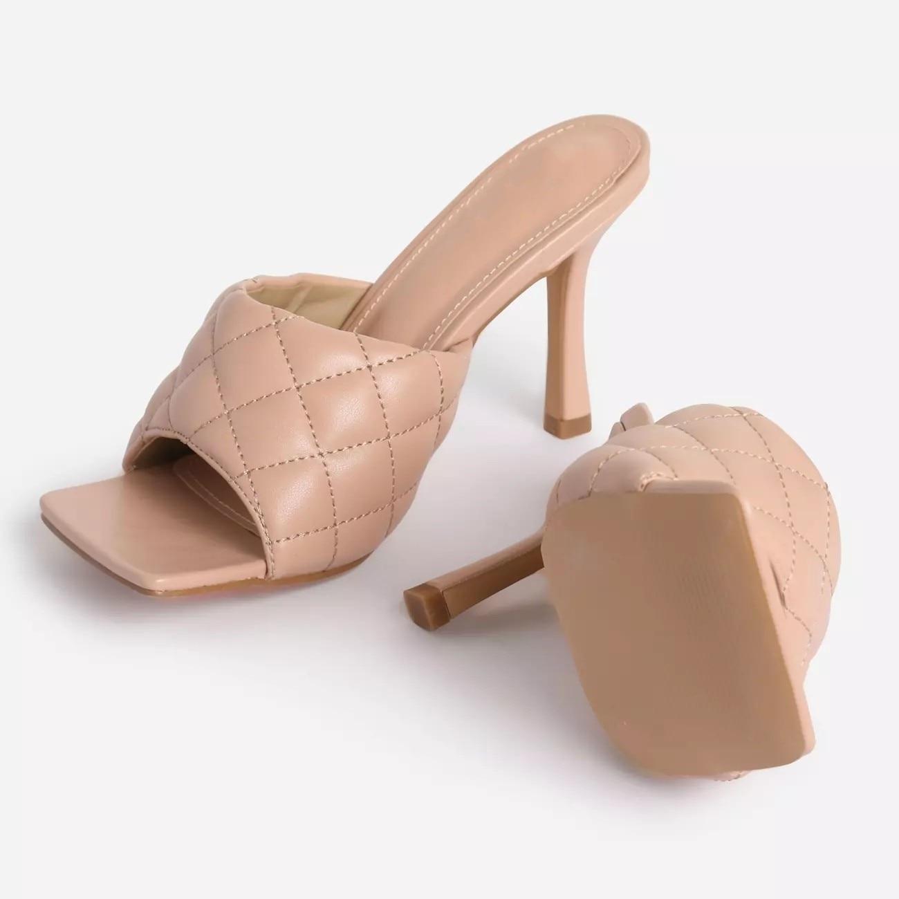 MHYONS Vintage Square Toe Slipper Sandals Women Solid Gingham High Heel Women's Sandals Block Heel Ladies Shoes Women