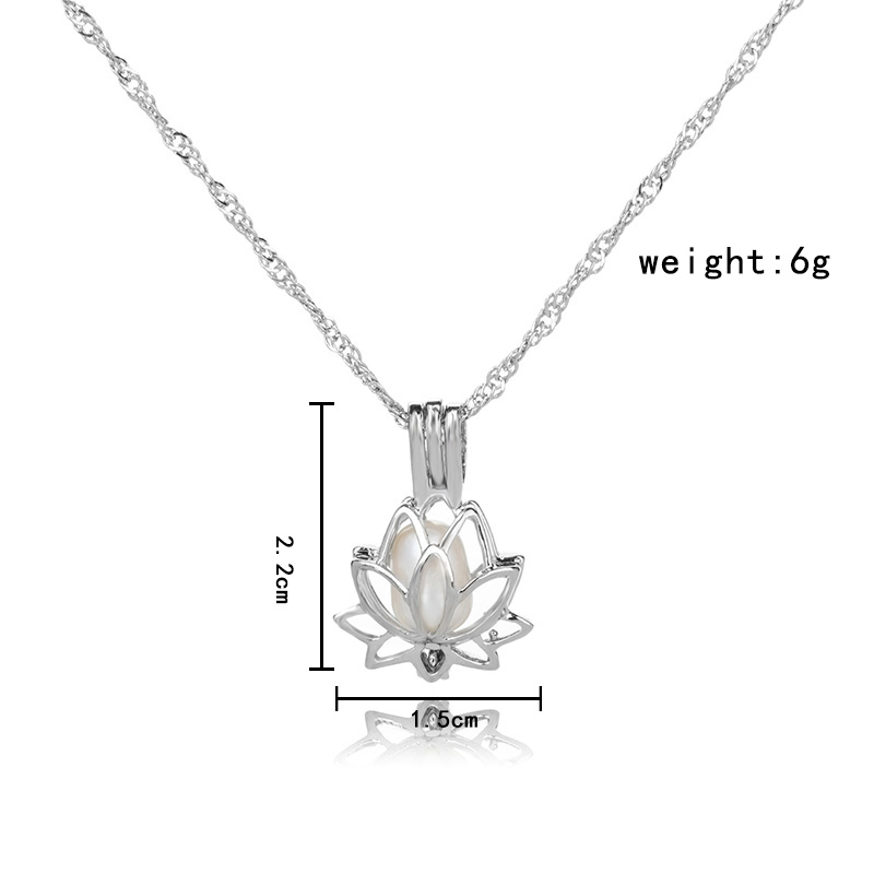 H33b6665238144cffad0d918e97a7d4626 - 3 Colors Glowing In The Dark Lotus Flower Shaped Pendant Necklace Charm Chain Delicacy Necklace Luminous Party Jewelry Women