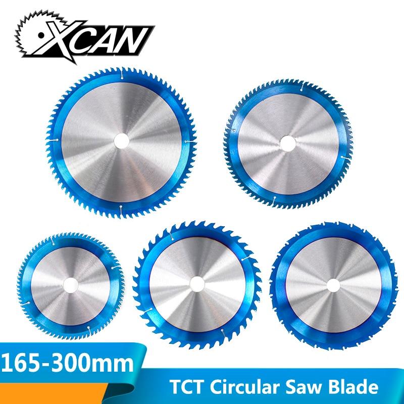 Xcan 1pc 165-300mm tct lâmina de serra nano revestimento azul circular lâmina de serra discos de corte carpintaria carboneto derrubado lâmina de serra