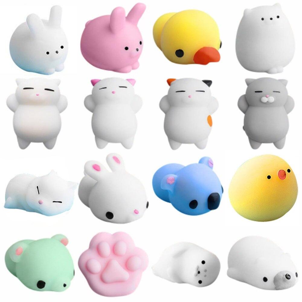 16 jouets spongieux de Mochi de pc avec le jouet mignon de Stress de sac récompense des jouets pour des enfants