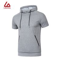 New Men's Sportswear Quick Dry Hooded Running Cycling Gym Training Exercise Shortsleeve Breathable Sports Shirts ropa deportiva