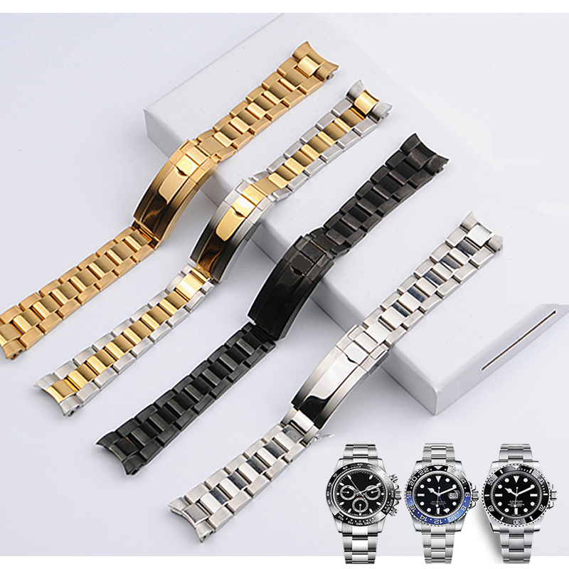 20mm Solid Curved End Screw Links Clasp Steel Watch Band Bracelet For Rolex OYSTER Style Subamriner Daytona GMT Men Watch Band