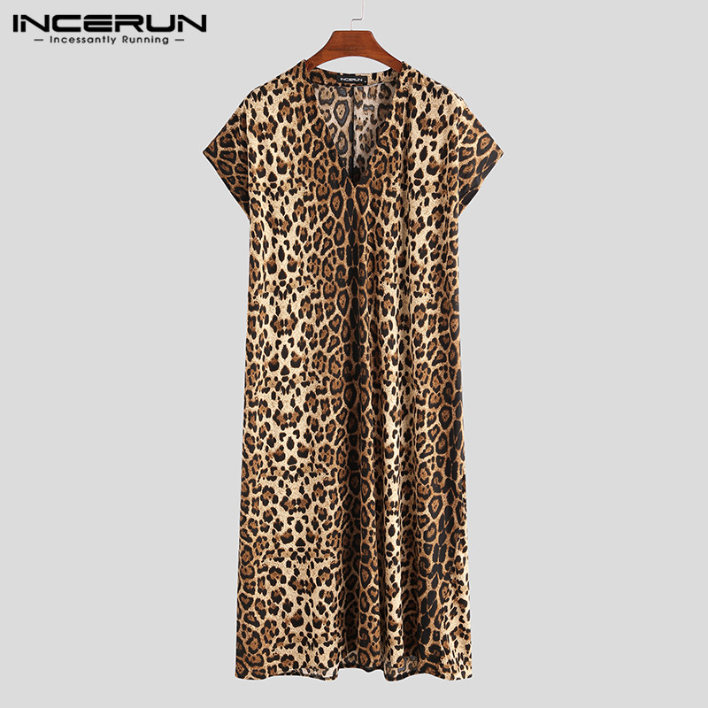 Leopard Printed Men Robes Casual Sleepwear Short Sleeve Homewear V Neck Loose Fashion Bathrobes Men Muslim Kaftan INCERUN S-3XL