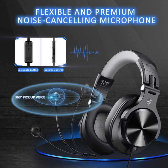 Oneodio Wired Gaming Headset Gamer 3.5mm Over-Ear Stereo Gaming Headphones With Detachable Microphone For PC Computer PS4 Phone 4