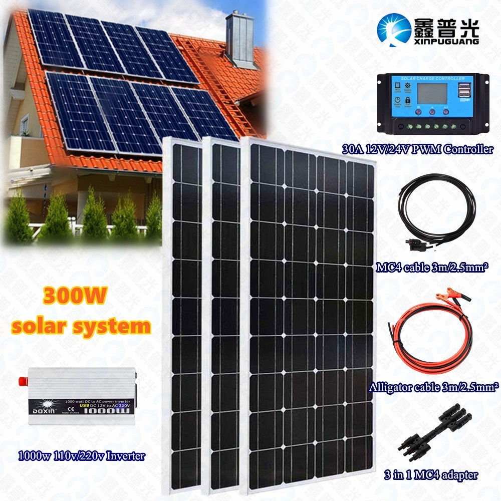 3x <font><b>100w</b></font> 300w Tempered solar panel system kit module cell 30A controller regulator 110v/<font><b>220v</b></font> <font><b>inverter</b></font> for <font><b>12v</b></font> Battery charge home image