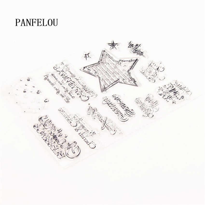 Panfelou 10.5X15 Cm Natal Bintang Natal Transparan Silikon Karet Bening Perangko Kartun untuk Scrapbooking/DIY Natal Pernikahan Album