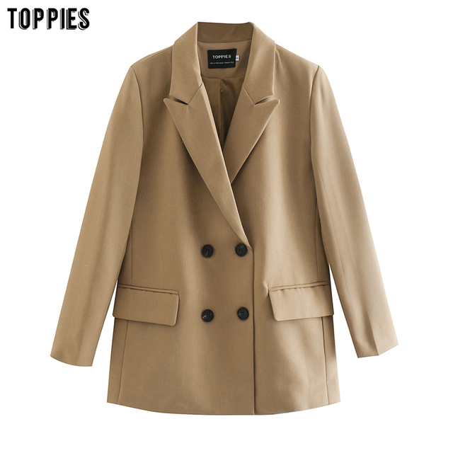 TOPPIES 2020 womens long blazer double breasted suit jacket loose oversize coat solid color formal blazer