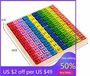 Baby Houten Digitale Speelgoed 99 Vermenigvuldiging Tafel Math Speelgoed 10*10 Figuur Blokken Baby Leren Educatief Montessori Blok Speelgoed geschenken