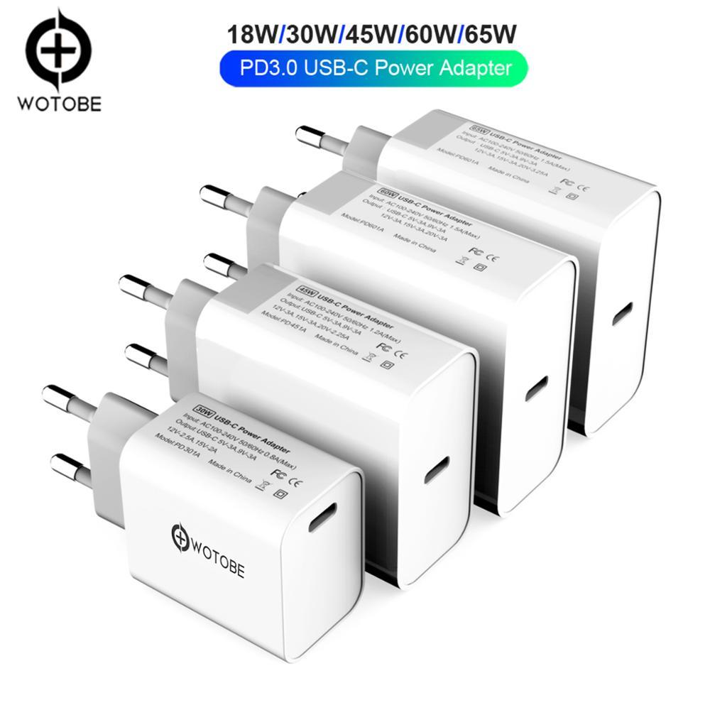 USB-C Power Adapter 18W 30W 45W 60W 65W 87W PD/QC3.0 Charger For Xiaomi USB-C Laptops MacBook Pro Iphone 11 IPad ProS9/S10 P30