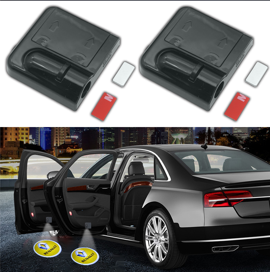 2pcs Shadow Lamp Projector Light Car Led Wireless Door Car Logo Light Welcome Decor Lamp Laser Car Light Car Accessories