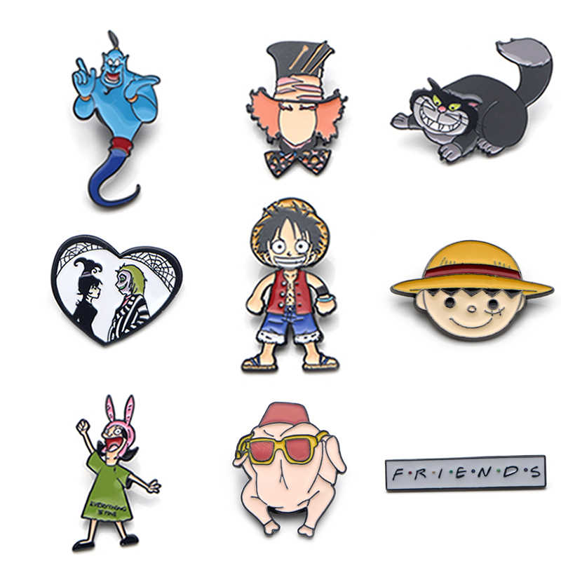 V103 Een Stuk Vrienden Tv Cartoon Metalen Emaille Pins En Broches Fashion Revers Pin Rugzak Zakken Badge Collectie Geschenken