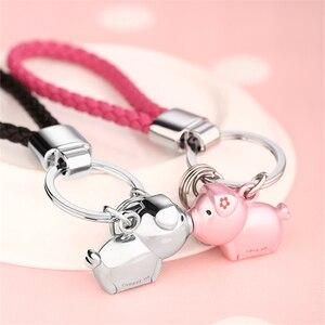 Image 2 - Milesi 3D נשיקת חזיר זוג keychain עבור אוהבי מתנת תכשיט יפה מפתח מחזיק נשים הווה Chaveiro sleutelhanger רכב keyring