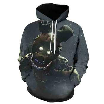Five Nights at Freddy Video Game Themed Hoodie Hooded Sweatshirt 3D Casual Adult Pullover Casual Cool Cosplay Hoodie casual cross at back sleevless hoodie sweatshirt in grey