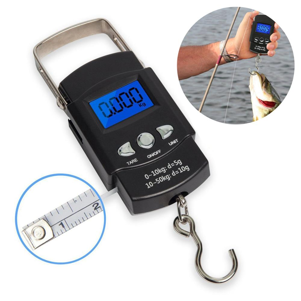 50Kg Mini Digital Scale Luggage Postal hunting Fishing Scale With Backlight Built-in 110cm Tape Measure Electronic Weigh Scale image