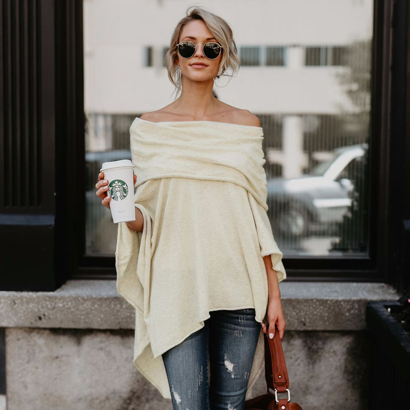 Women Autumn Fashion Cloak Sweater Casual Off Shoulder Loose Slash Neck Knitted Batwing Sleeve Sweater Pullover Poncho Sweater