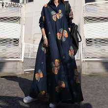 ZANZEA 2021 Women's Printed Sundress Kaftan Spring Maxi Dress Casual Long Sleeve Shirt Vestidos Female Lapel Robe Oversized 5XL
