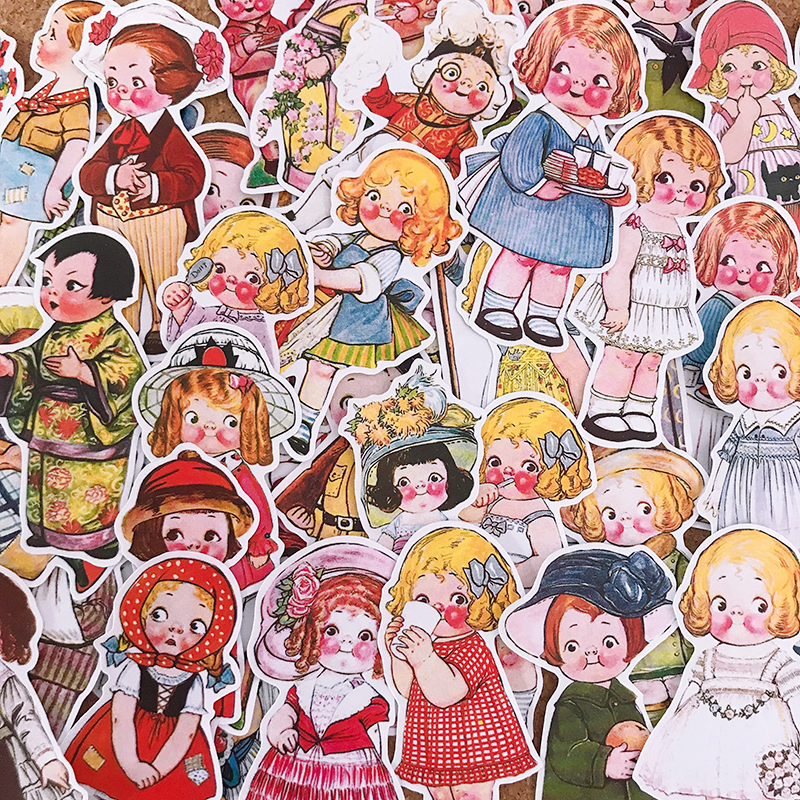 48pcs Cute Doll Stickers Crafts And Scrapbooking Stickers Kids Toys Book Decorative Sticker DIY Stationery