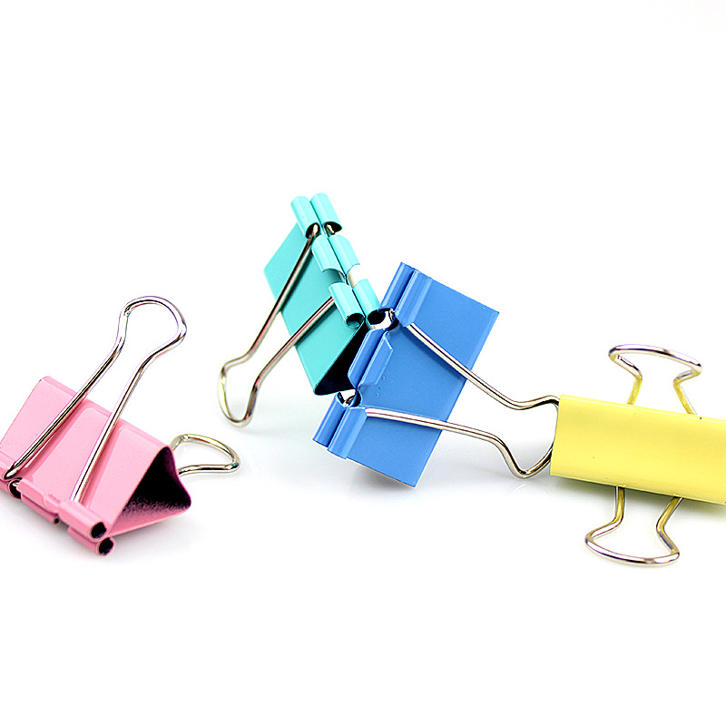 40Pcs Colorful Metal Binder Clips Paper Clip 3*2cm School Office Learning Supplies Color Random High Quality