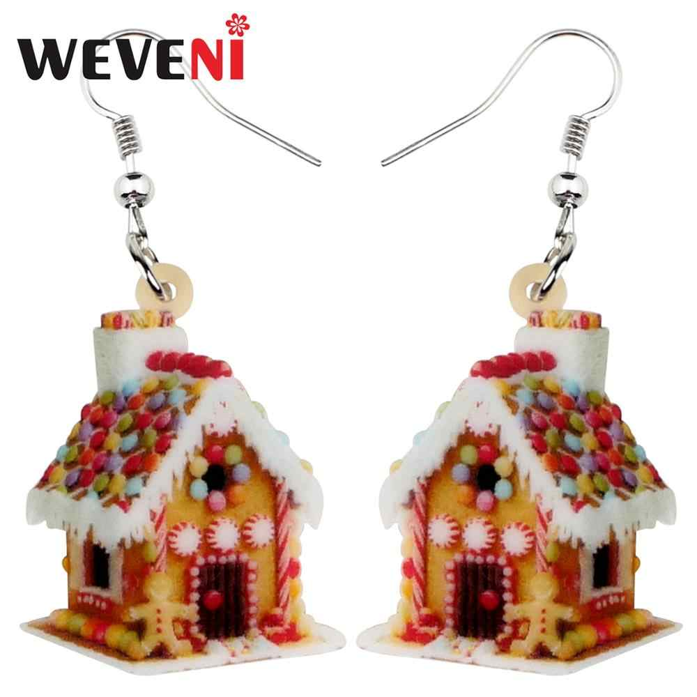 WEVENI Acrylic Christmas Anime Colorful House Earrings Long Drop Dangle Fashion Girl Women Wholesale Festival Party Accessories