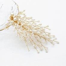 Жемчужные заколки для волос ручной работы женщин золотого цвета