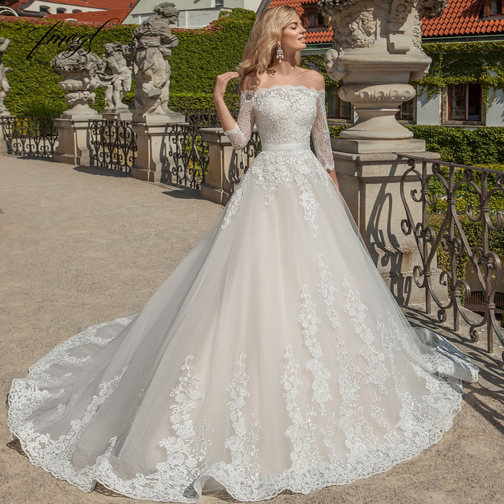 Fmogl Sexy Boat Neck Three Quarter Lace A Line Wedding Dresses 2019 Luxury Appliques Beaded Court Train Vintage Bridal Gowns