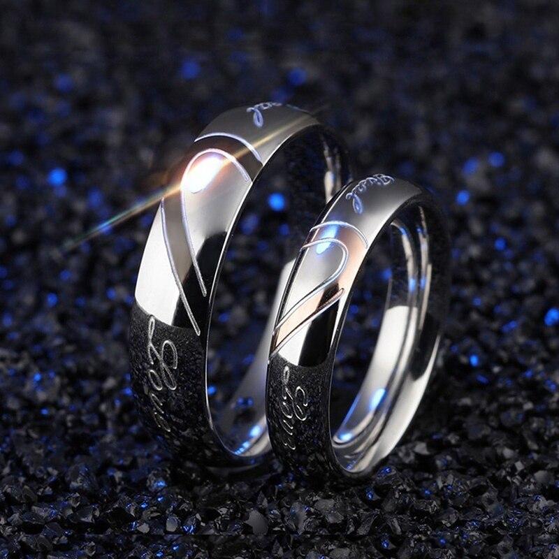 1 peça Romântica Amantes Anel de Noivado Casamento Casal Metade Dos Homens Jóia Do Coração Do Enigma Seu & Dela Anel de Compromisso