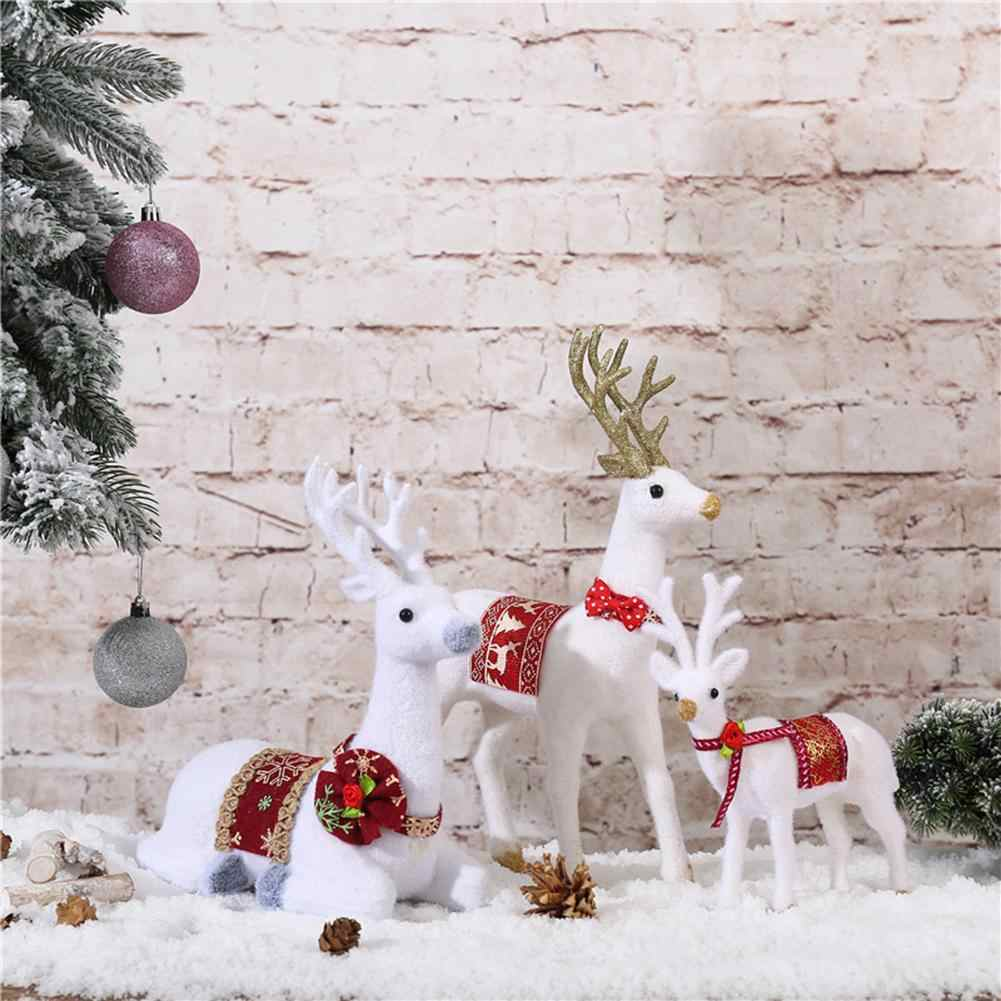 Christmas Decoration Cute Realistic Bowknot Bell Elk Model Figurines Miniatures Figurine Doll Toys For Kids Xmas Home Decor
