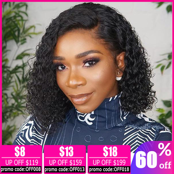 13x4 lace front wig deep wave wig Brazilian short lace front human hair wigs for women bob lace front wigs Non-Remy 150% Density alidoremi brazilian deep wave 13x4 lace front wig 100