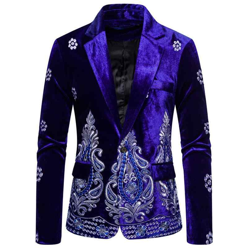 Unique Luxury Men's Blazer Costume Stage Jacket Suit Male Velvet One button Gold Thread Embroidered Dress Suits for Men