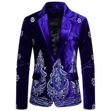 Unique Luxury Men's Blazer Costume Stage Jacket Suit Male Velvet One button Gold
