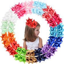 30Pcs 5 Inch Hair Bows Clips Large Big 3 stackle Grosgrain Ribbon Bows Pinwheel Alligator Clips Hair Accessories Girls Toddler