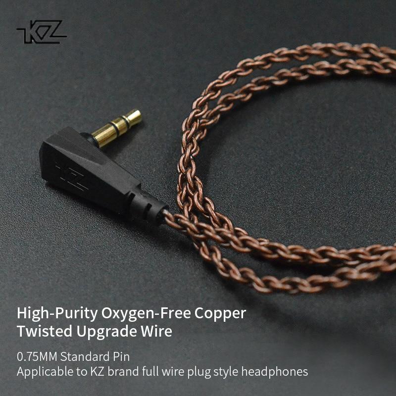 KZ ZS10 ZST ZS3 оригинальный кабель высокой чистоты бескислородная медь витой обновленный кабель KZ 2-контактный кабель для KZ Z10 ZST ZSN CCA C10 V80