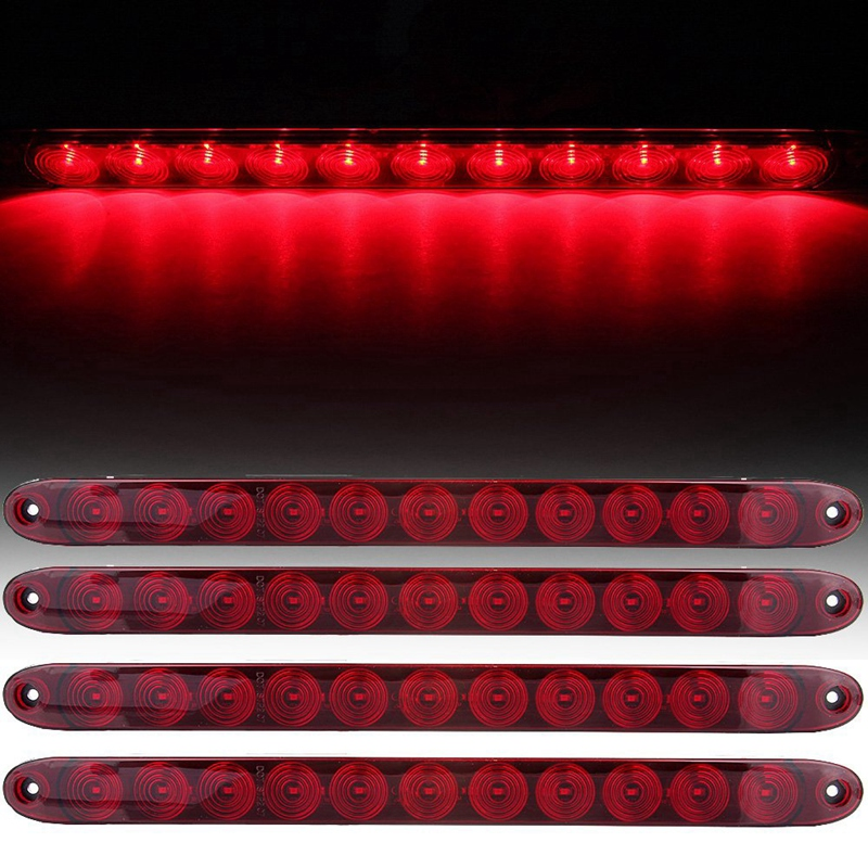 4Pcs 15 Inch Red Led Stop Brake Turn Tail Light Bar Truck Trailer Rv Car Waterproof With Screws