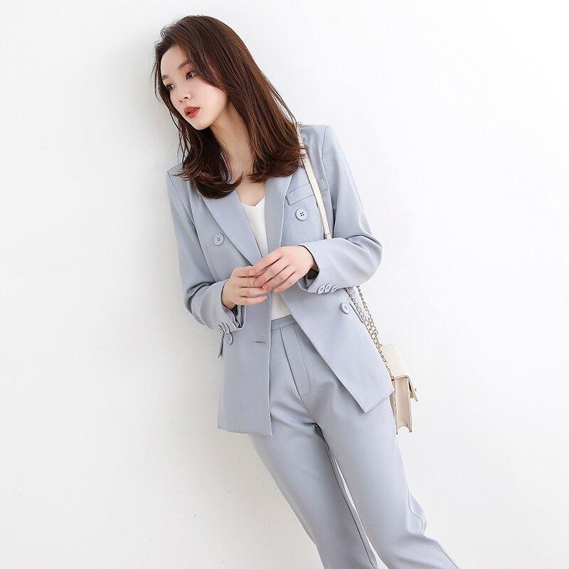 Elegant Double Breasted Women Pant Suit blazer Long Sleeve Jacket & Autumn Pencil Pants Blazer Set Ladies 2 Pieces Set vs437