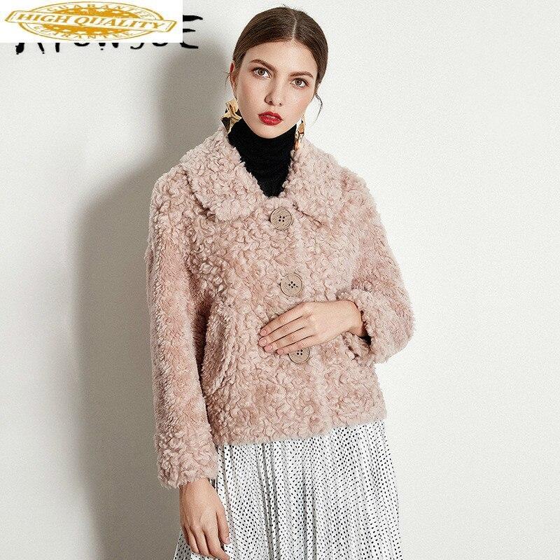 Real Fur Coat Women Clothes 2019 Autumn Winter Coat Women Sheep Shearing 100% Lamb Fur Jacket Korean Fur Tops 1930-Q YY1901