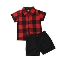 Дети для маленьких мальчиков красного цвета, Рождественская одежда в клетку, комплект со штанами, рубашка+ шорты, нарядный костюм джентльмена с Повседневное наряды, комплекты на лето