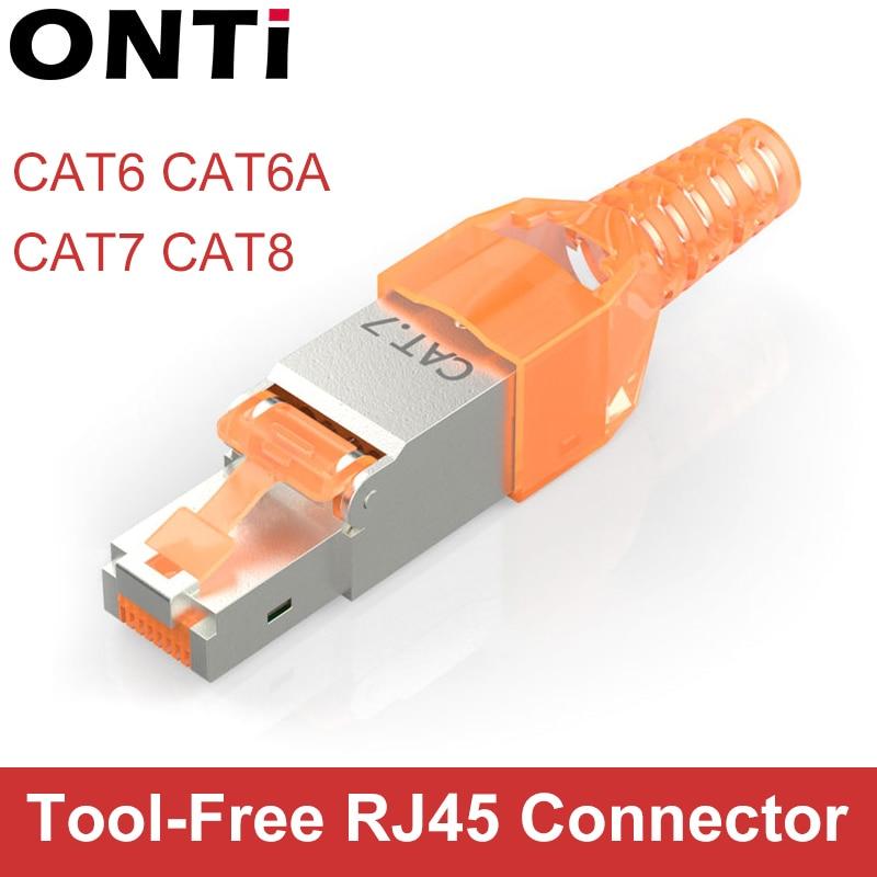 ONTi 10Pcs Tool-Free Shielded RJ45 Cat 7 / Cat6A Termination Plug Cat7 Plug / Cat7 Connector Cat6A Connectors Modular 23/24AWG