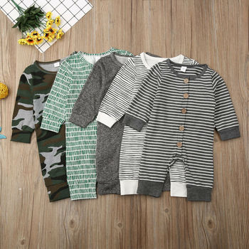 Emmababy Autumn Casual Newborn Infant Baby Boy Girl Long Sleeve Button Romper Jumpsuit Clothes Outfits Set цена 2017