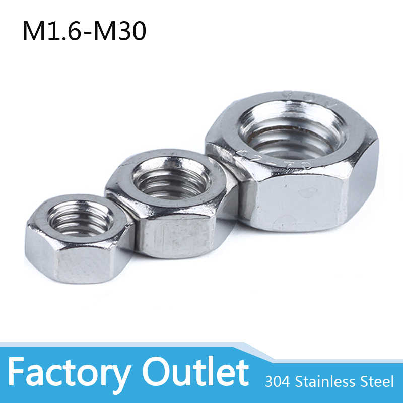 M30  HEX Nut  A2 304 Stainless Steel Hexagon Nuts M1 M1.2 M1.4 M1.6 M2 M3 M4M6