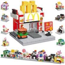 Building-Blocks City Bookstore MOC Shop Mini Educational-Toys Street-Series Ce Pizza-Ice-Cream