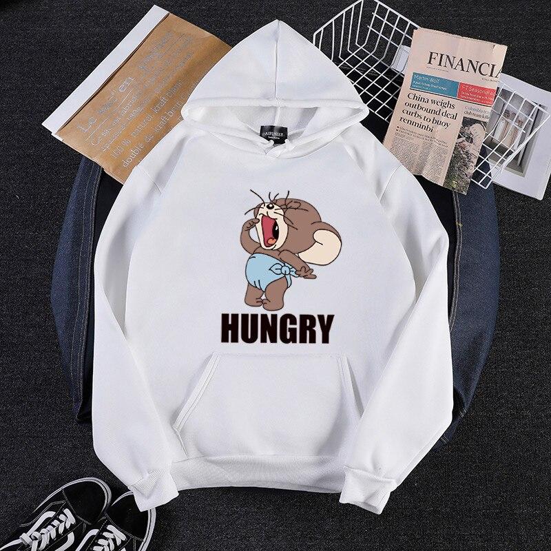 2019 Autumn Winter new Kawaii mouse print teen hoodies Anime tom cat and jerry mouse funny clothes Harajuku Cartoon sweatshirt