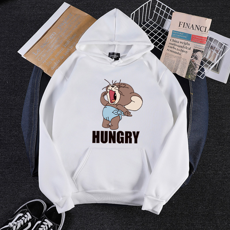2019 Autumn Winter New Kawaii Mouse Print Teen Hoodies Anime Tom Cat And Jerry Mouse Funny Clothes Harajuku Cartoon Sweatshirt